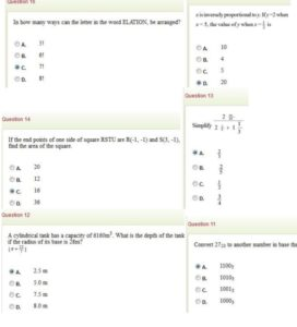 Jamb mathematics question and answer