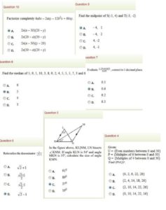 More of mathematics question and answer jamb