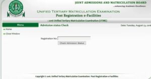 "Find ""Check Admission Status."""