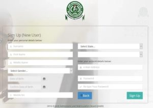sign up to jamb profile