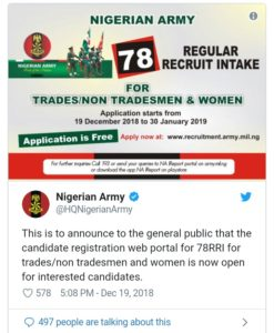Nigerian army recruitment form 2019/2020