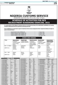 NCS list of shortlisted candidate